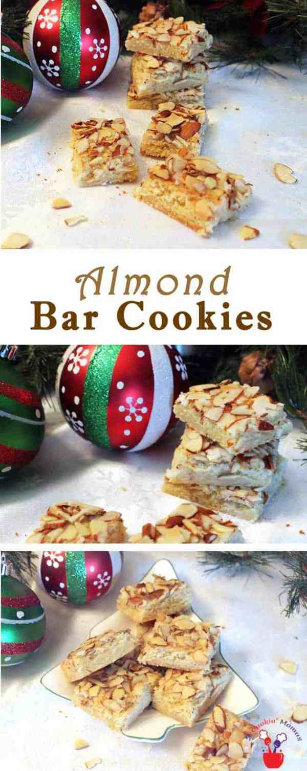 Almond Bar Cookies | 2 Cookin Mamas Almond lovers will love these simple almond bar cookies. An almond shortbread cookie is topped with slivered almonds and baked for a buttery cookie with a crunch. #recipe
