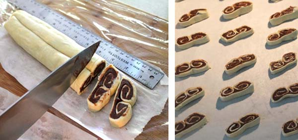 Nutella Palmiers slicing and baking