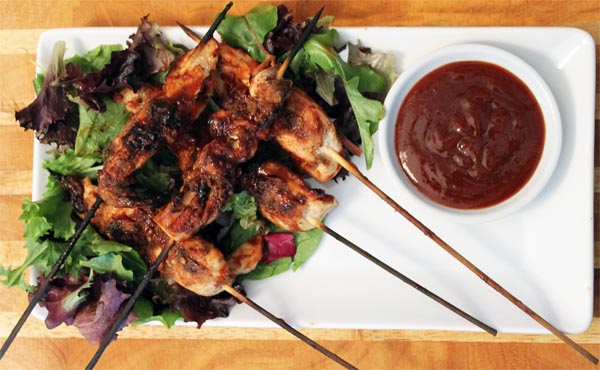 Bourbon BBQ Chicken Skewers plated | 2CookinMamas