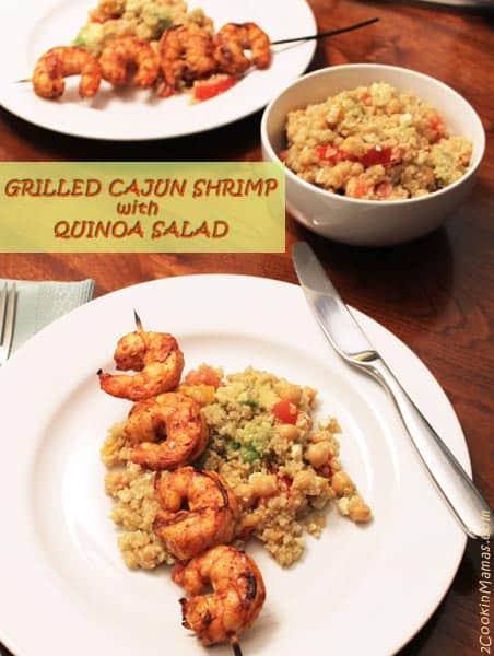 Grilled Cajun Shrimp with Quinoa Salad | 2CookinMamas