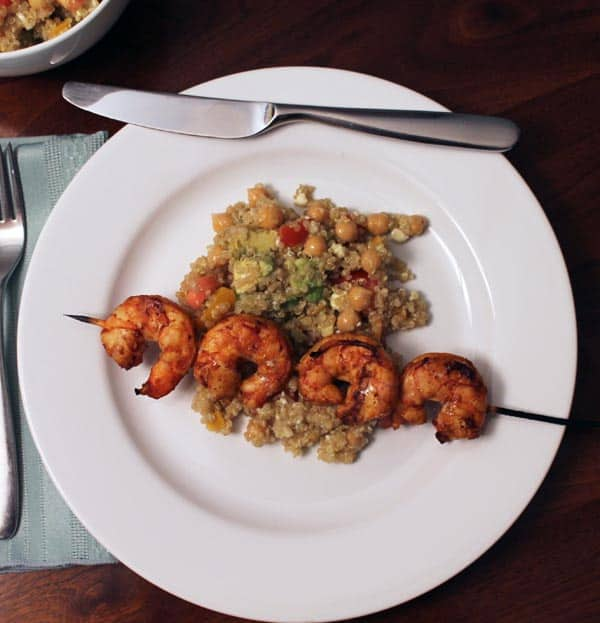 Grilled Cajun Shrimp with Quinoa Salad plated   2CookinMamas