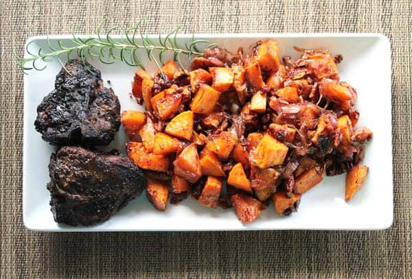 Poasted Sweet Potatoes plated | 2 Cookin Mamas