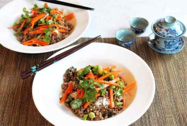 Thai Beef with Carrot Basil Salad | 2 Cookin Mamas