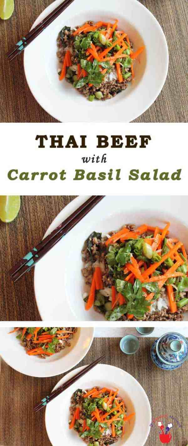 Thai Beef with Carrot Basil Salad | 2 Cookin Mamas Stir up a taste of Asia with this delicious Thai Beef recipe. Stir fry ground beef & top with fresh vegetables for a healthy one skillet meal in under 30 minutes. #recipe