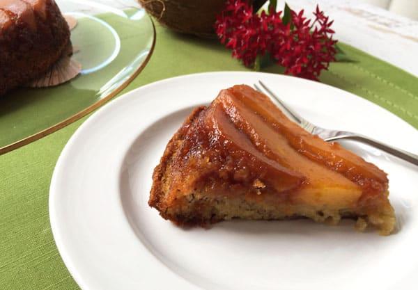 Mango Upside Down Cake Slice | 2CookinMamas