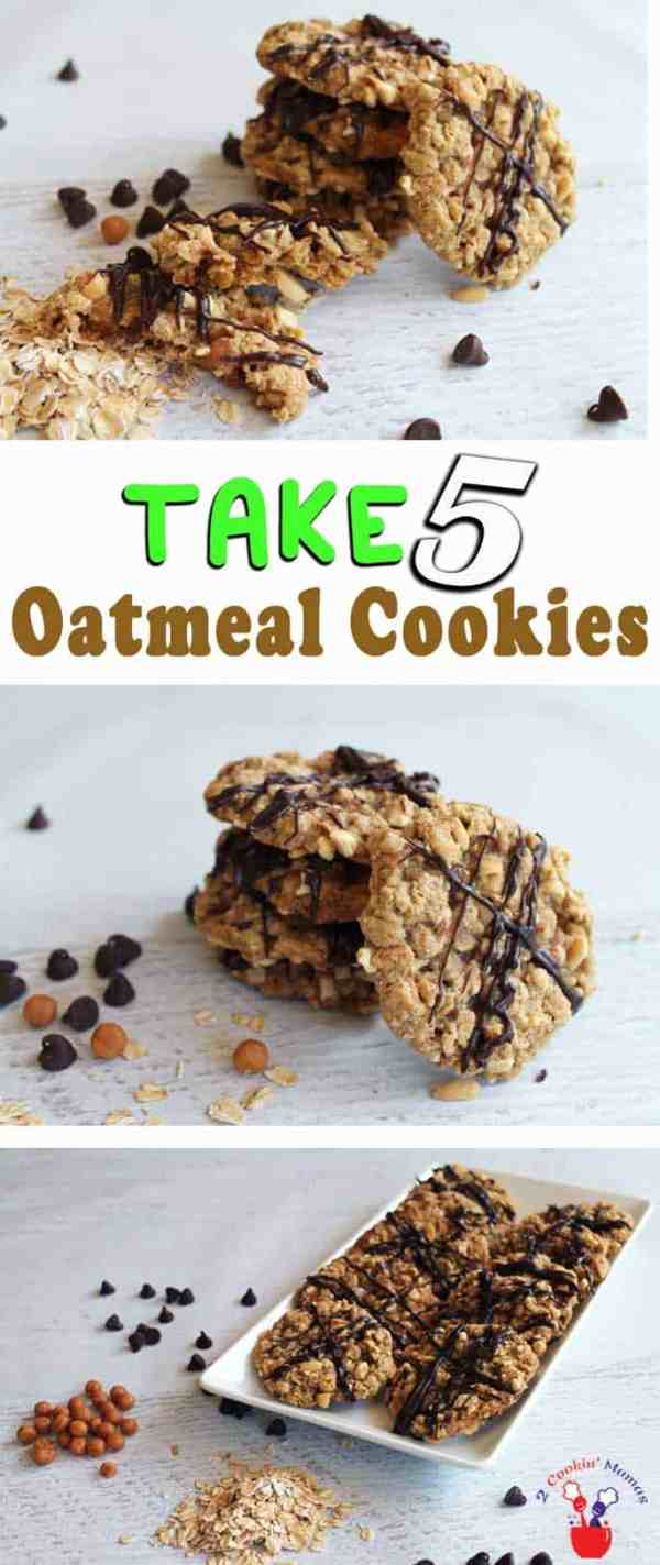Take 5 Oatmeal Cookies | 2 Cookin Mamas Whip up a batch of sweet & salty oatmeal cookies reminiscent of Take 5 candy bars. Lots of gooey caramel nestled inside oatmeal cookies coated with peanuts.