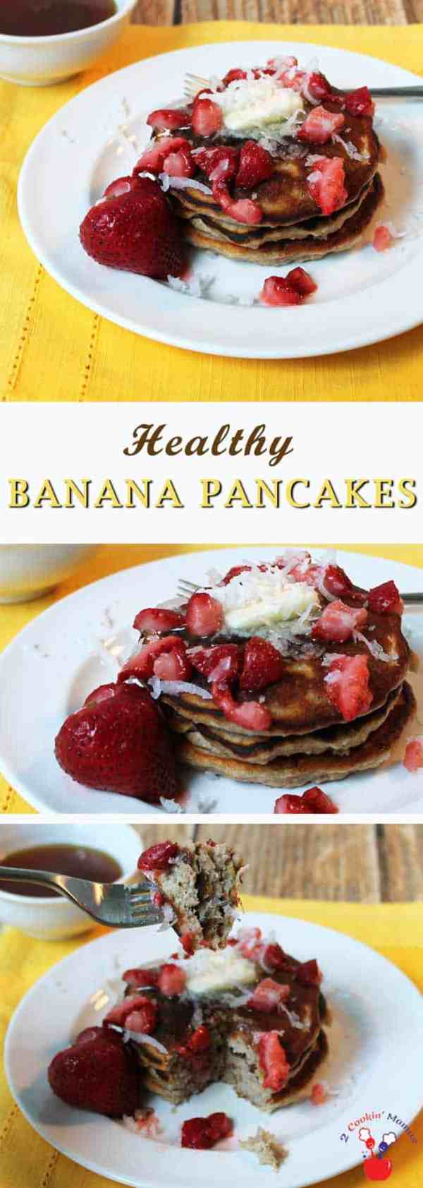 Healthy Banana Pancakes 1 | 2 Cookin Mamas A delicious breakfast that is healthy too! Plenty of fiber, protein & antioxidants in these pancakes. And gluten-free too! #recipe #glutenfree #healthy