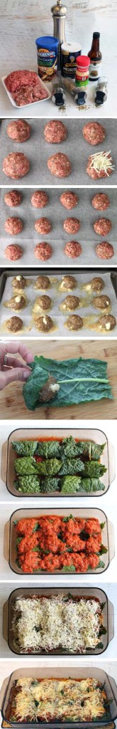 Mozzarella Stuffed Kale Wrapped Meatballs prep
