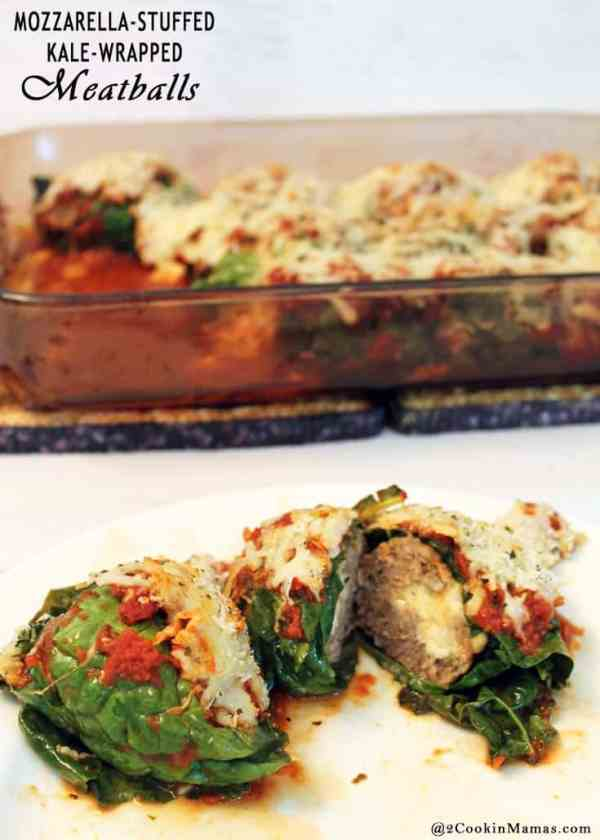 Mozzarella Stuffed Kale Wrapped Meatballs | 2CookinMamas