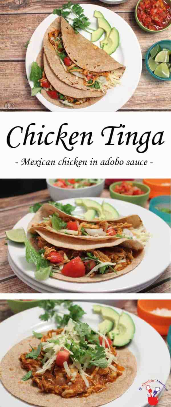 Chicken Tinga | 2 Cookin Mamas Chicken Tinga is an authentic Mexican dish made with shredded chicken in a smoky & spicy chipotle adobo sauce.