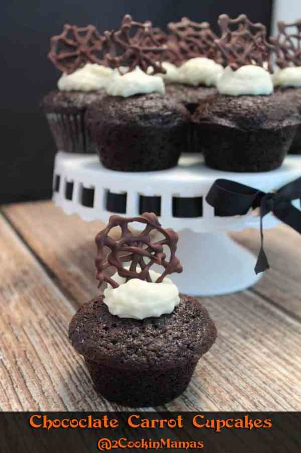 Chocolate Carrot Cupcakes pin|2CookinMamas - Carrot cake brought up a notch with rich chocolate. Add decorations to match the holiday!