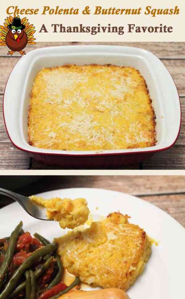 Cheese Polenta and Butternut Squash Casserole | 2CookinMamas - Creamy, cheesy goodness makes a great Thanksgiving side. Save time with frozen squash and pre-made polenta.