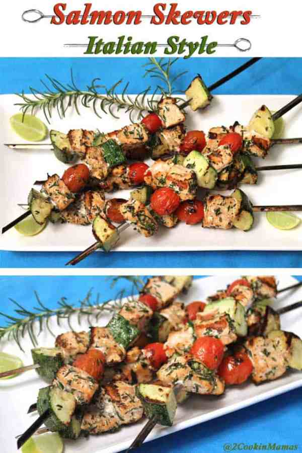 Italian Salmon Skewers | 2CookinMamas - An easy & healthy dinner on a skewer. Salmon, tomatoes and zucchini grilled to perfection.