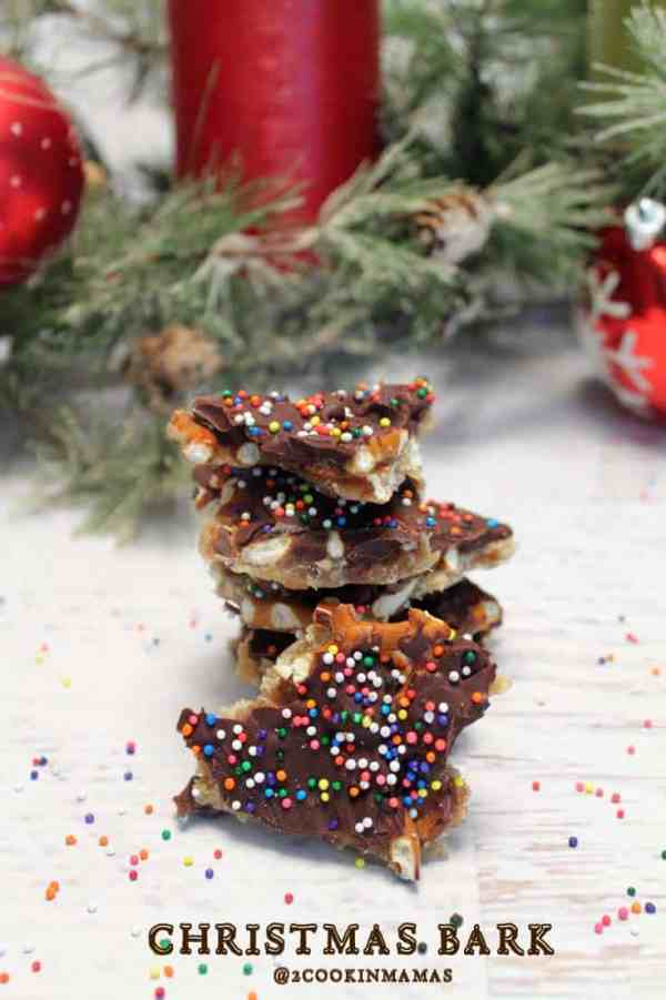 Christmas Bark aka Christmas Crack pin|2CookinMamas - What's not to like about chocolate, caramel and pretzels. But watch out, it's easy to make & so addictive!