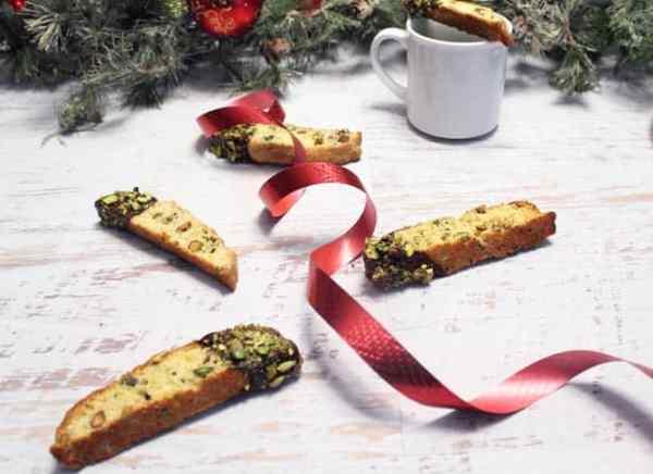 Orange Pistachio Biscotti w ribbon|2CookinMamas