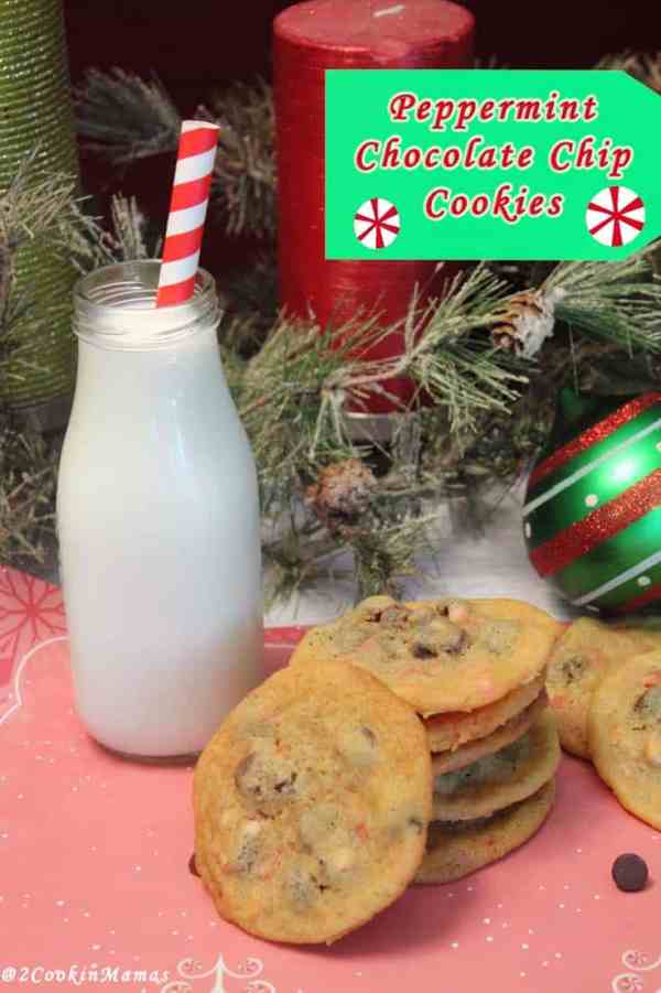 Peppermint Chocolate Chip Cookies main| 2CookinMamas - The perfect cookie for the season! Full of crunchy peppermint and rich chocolate chips all in a soft chewy cookie.