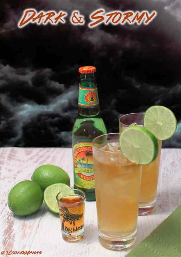 Dark & Stormy | 2CookinMamas A smooth, not so sweet, rum cocktail that has that mellow rum taste with a hint of lime and spiced up with a tang of ginger.