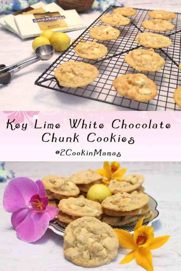 Key Lime White Chocolate Chunk Cookies | 2CookinMamas A tropical cookie full of bright key lime flavor with white chocolate, macadamia nuts & coconut. Take me away!