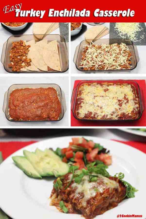 Turkey Enchilada Casserole 1| 2CookinMamas A quick & easy way to make enchiladas - in a layered casserole. Quick, easy with all the Mexican deliciousness you love!