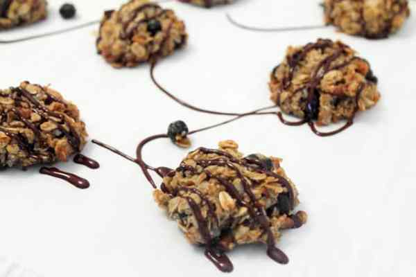Crunchy Granola Breakfast Cookies drizzled closeup|2CookinMamas