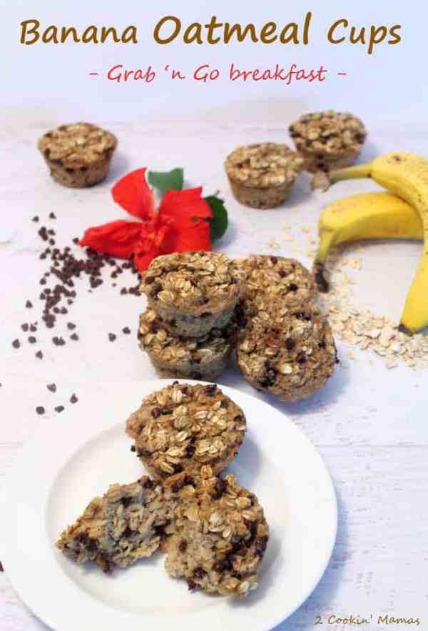 Banana Oatmeal Cups | 2 Cookin' Mamas A heart healthy easy to make grab 'n go breakfast.