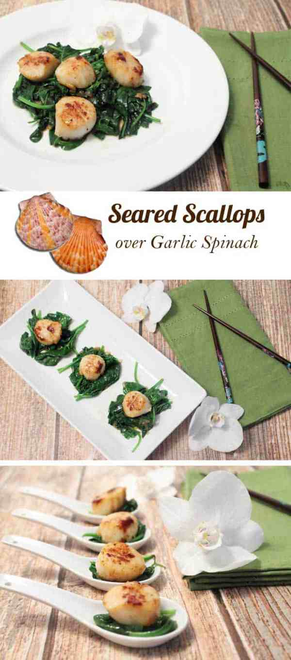 Seared Scallops over Garlic Spinach pin | 2 Cookin' Mamas Delicious & super healthy dinner on the table in less than 10 minutes! #scallops #recipe