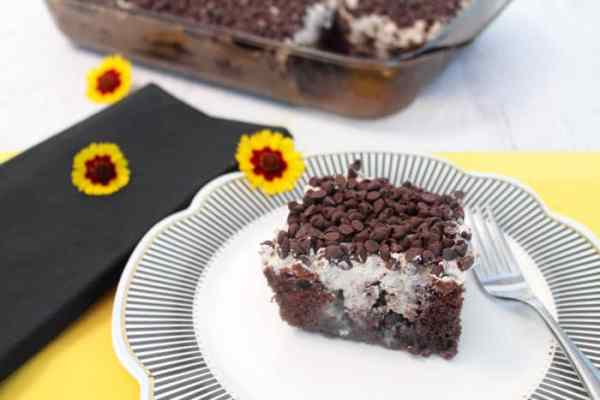 Chocolate Poke Cake serving1 | 2 Cookin Mamas