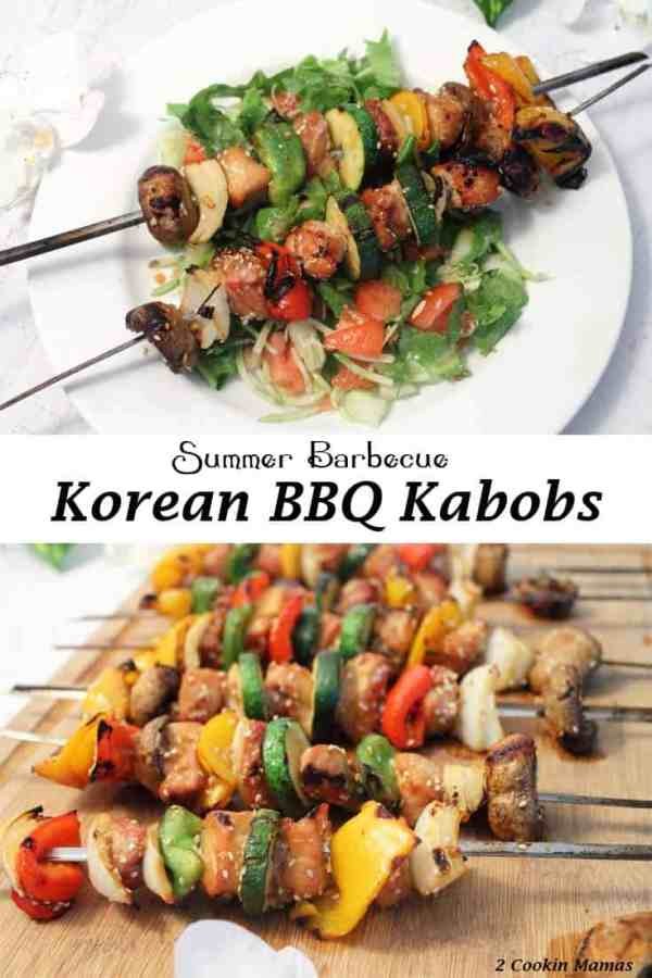 Korean BBQ Kabobs | 2 Cookin Mamas A great summer barbecue recipe that's both easy to put together and tasty. Combine your favorite meat with your choice of veggies, marinate in this awesome sauce & voila! Dinner on a stick. :-)