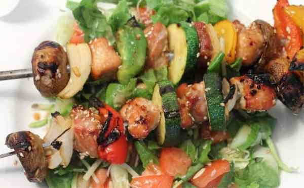 Korean BBQ Kabobs plated closeup | 2 Cookin Mamas