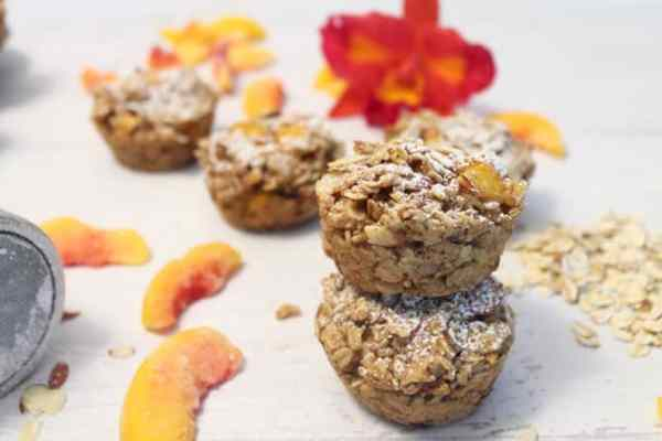 Peach Almond Oatmeal Muffins 1|2 Cookin Mamas