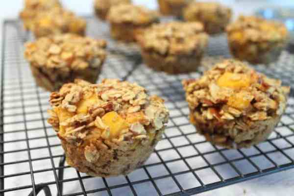Peach Almond Oatmeal Muffins 7 | 2 Cookin Mamas