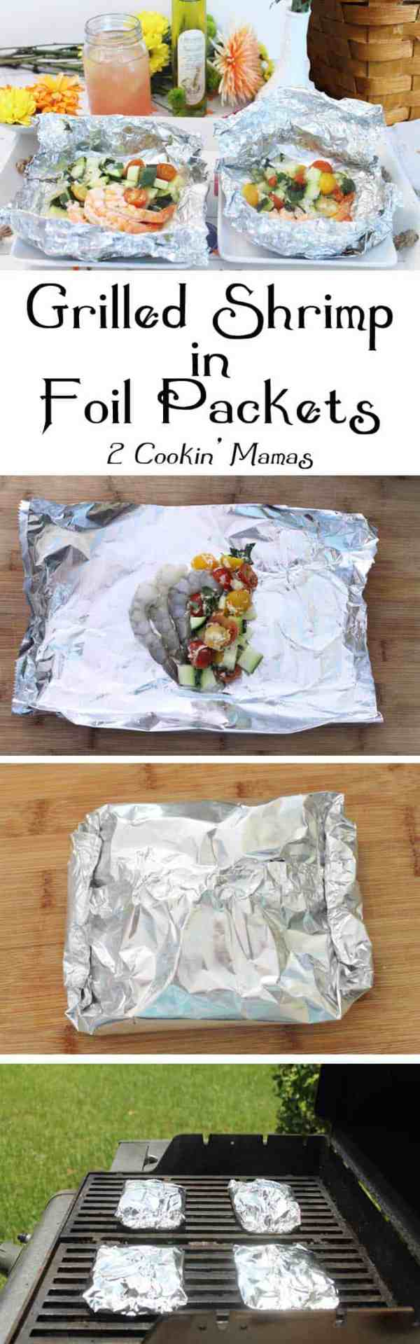 Grilled-Shrimp-Foil-Packets main | 2 Cookin Mamas Quick & easy dinner. Marinate, wrap in foil, grill & serve. Easy cleanup too! Great for backyard BBQs or campfires. #recipe