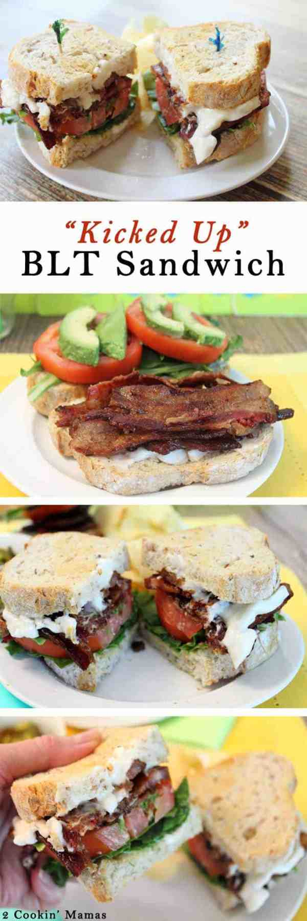 Kicked Up BLT Sandwich | 2 Cookin Mamas A BLT with a little something extra - jalapeno bacon! Dress it with bacon mayo, arugula, plump juicy tomatoes and avocado & you've got yourself one unforgettable BLT sandwich!