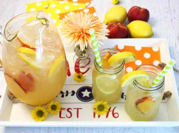 Peach Lemonade overhead | 2 Cookin Mamas