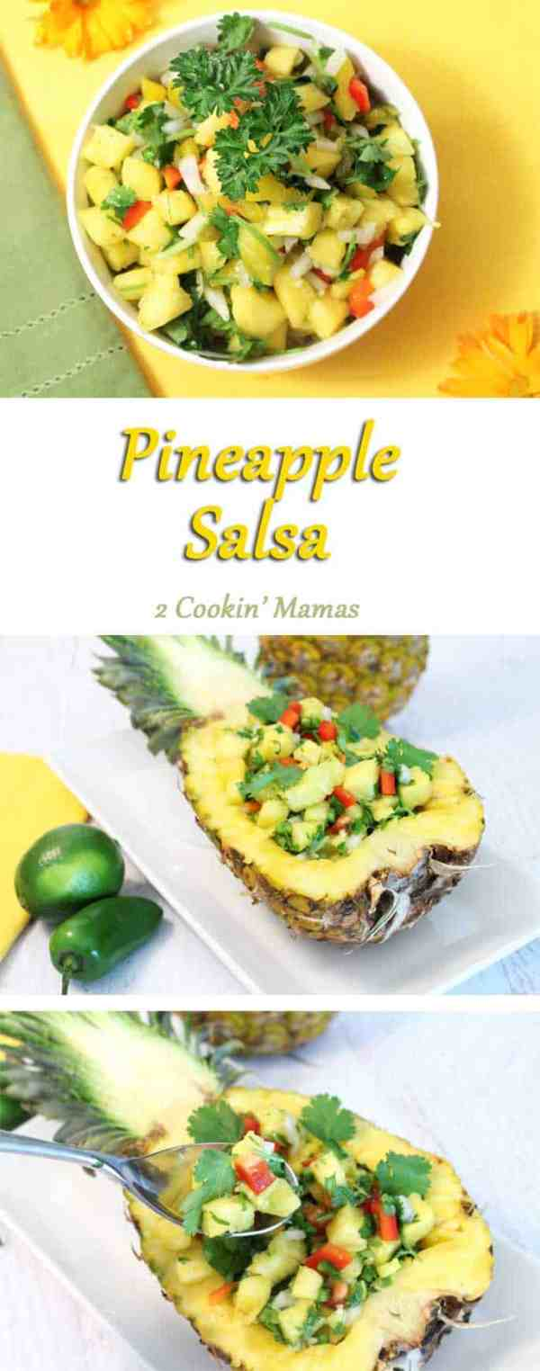 Pineapple-Salsa-pin | 2 Cookin Mamas Fresh pineapple highlighted with cilantro, bell peppers, jalapeno and lime sets off just about any grilled dish. Perfect for summer BBQs. #recipe