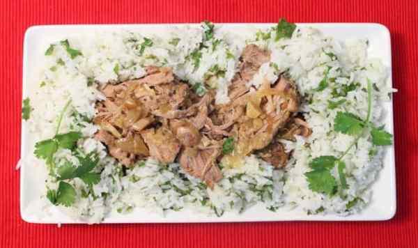 Crockpot Cuban Pork overhead | 2 Cookin Mamas