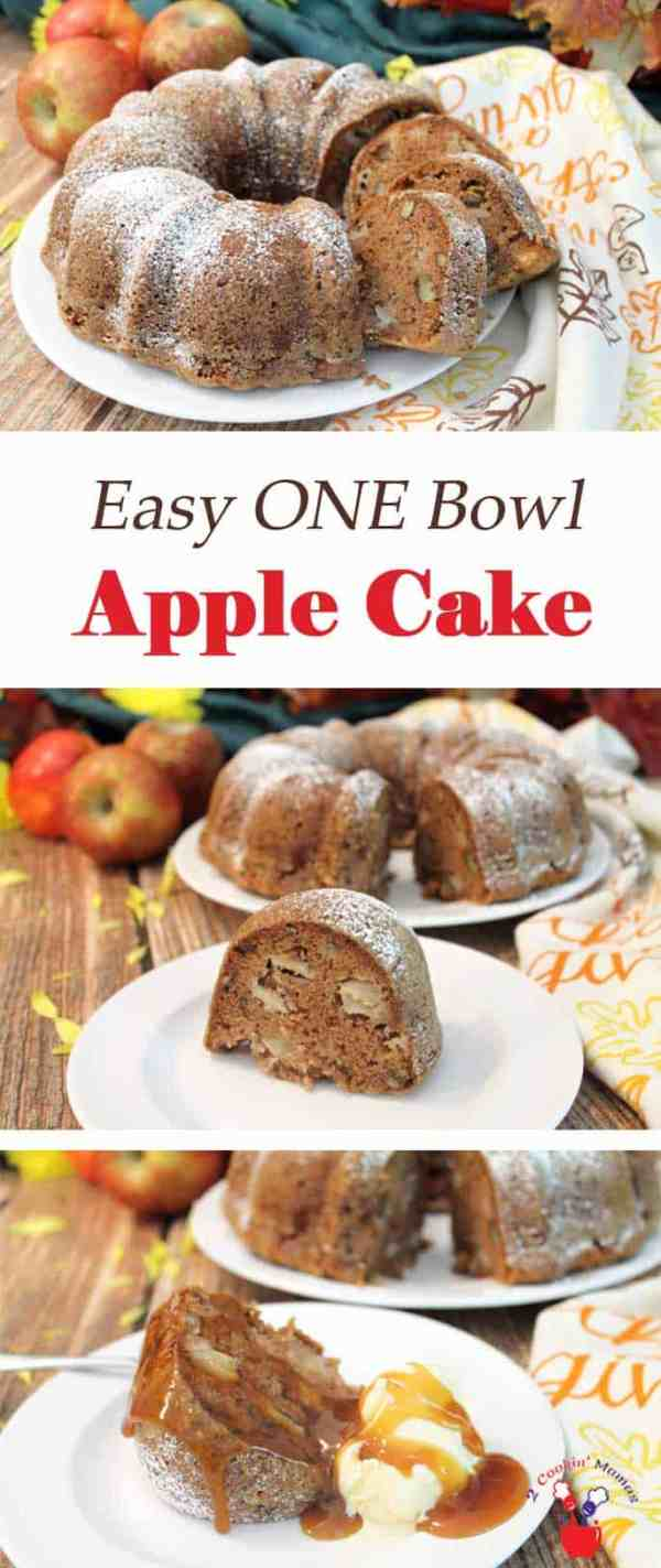 One Bowl Apple Cake | 2 Cookin Mamas This One Bowl Apple Cake is as easy as 1-2-3. Just put all the ingredients in a bowl, mix and bake. It comes out moist, delicious and fills the house with the aromas of apples & cinnamon. #recipe