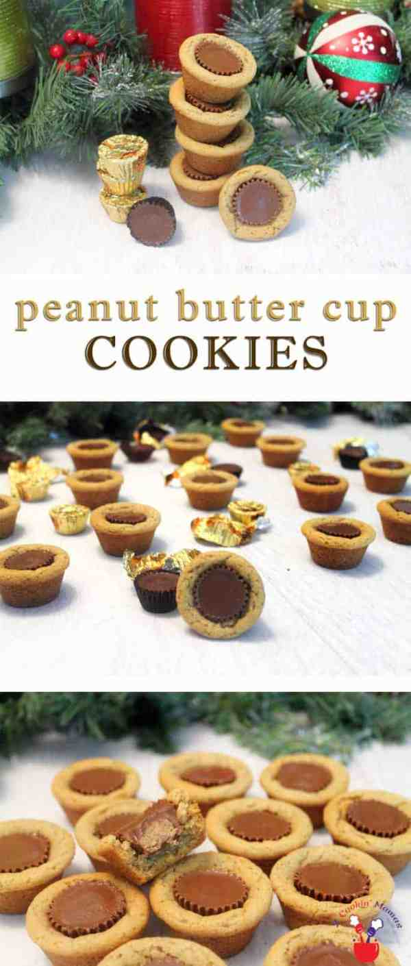 Peanut Butter Cup Cookies | 2 Cookin Mamas Love candy? Love cookies? If the answer is yes, you'll love these soft & chewy peanut butter cookies surrounding a mini peanut butter cup for the best of both worlds. #recipe