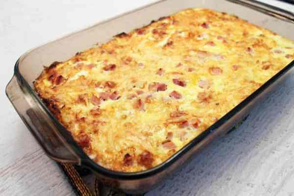 Ham and Cheese Breakfast Casserole baked | 2 Cookin Mamas