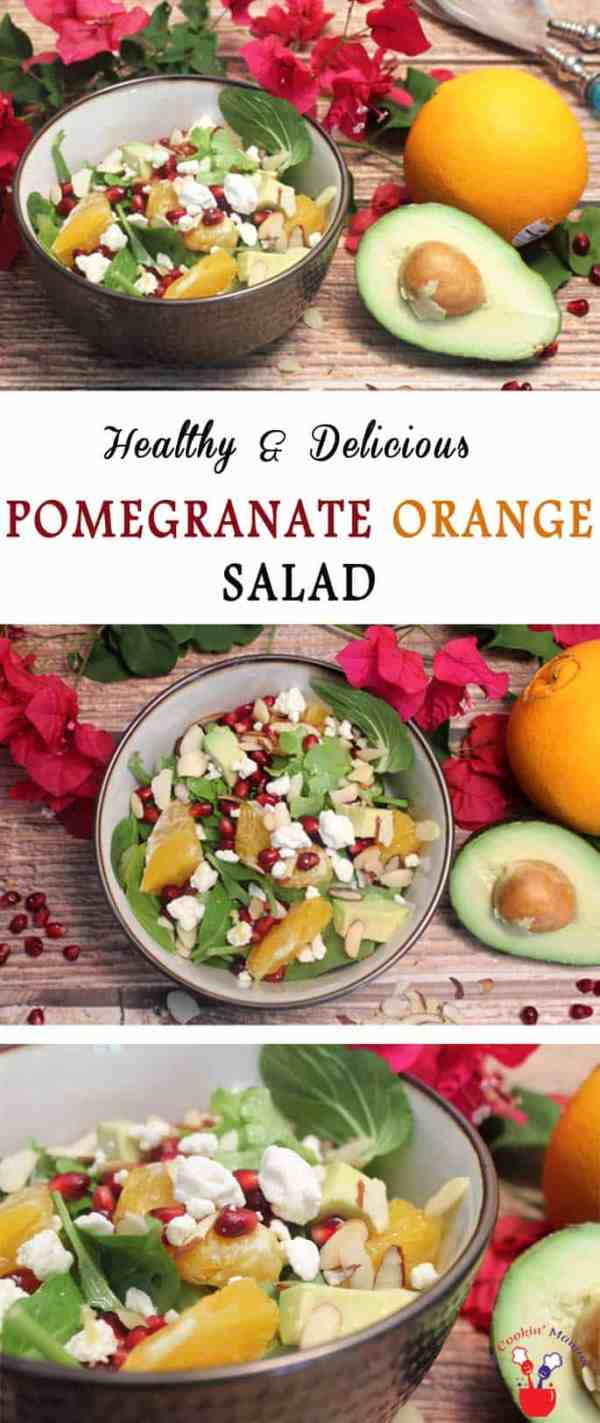 Pomegranate Orange Salad main | 2 Cookin Mamas Our Pomegranate Orange Salad is colorful, light & healthy. Oranges,pomegranate seeds, avocado & almonds are tossed with a light dressing for a tasty side. #recipe