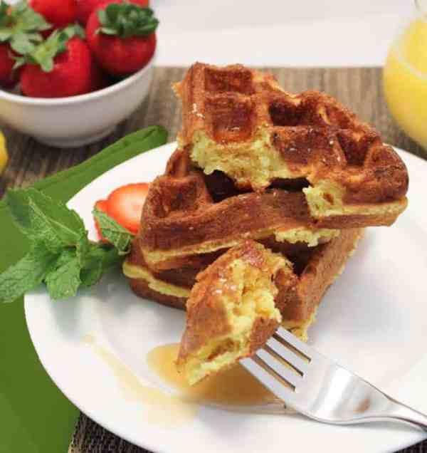 Eggnog Waffles bite | 2 Cookin Mamas
