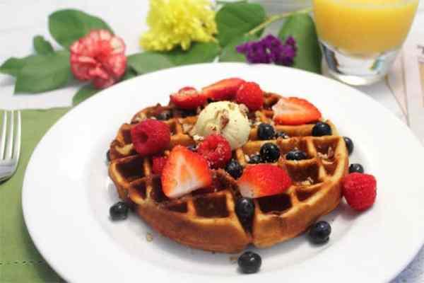 Eggnog Waffles plated | 2 Cookin Mamas