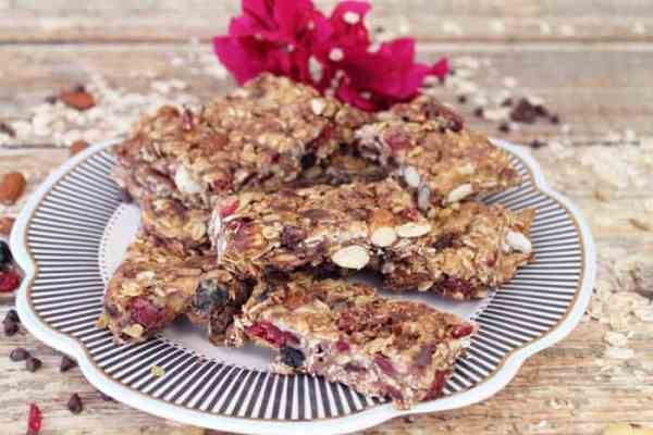 Trail Mix Granola Bars plated | 2 Cookin Mamas