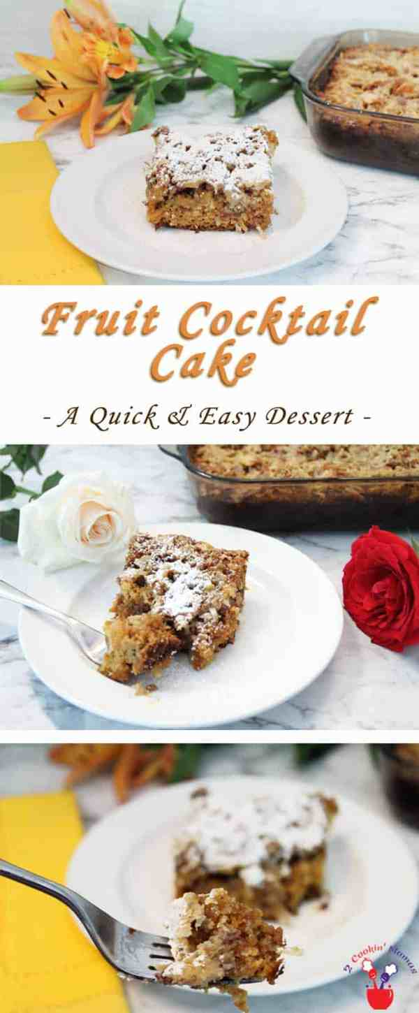 Fruit Cocktail Cake | 2 Cookin Mamas Bake up this quick & easy Fruit Cocktail Cake for a delicious holiday dessert. A sweet fruit-juicy cake with a crunchy topping of pecans & coconut.