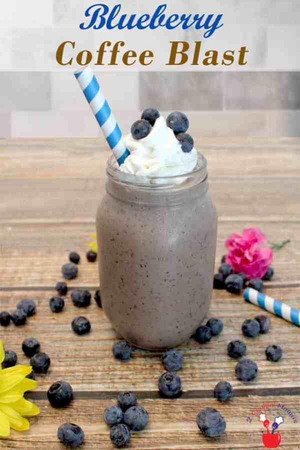 Blueberry Coffee Blast | 2 Cookin Mamas A cross between a cafe latte and a smoothie, this blueberry coffee blast is the best way to start your morning. Delicious flavors of blueberries, chocolate and coffee make this a deliciously healthy breakfast treat.