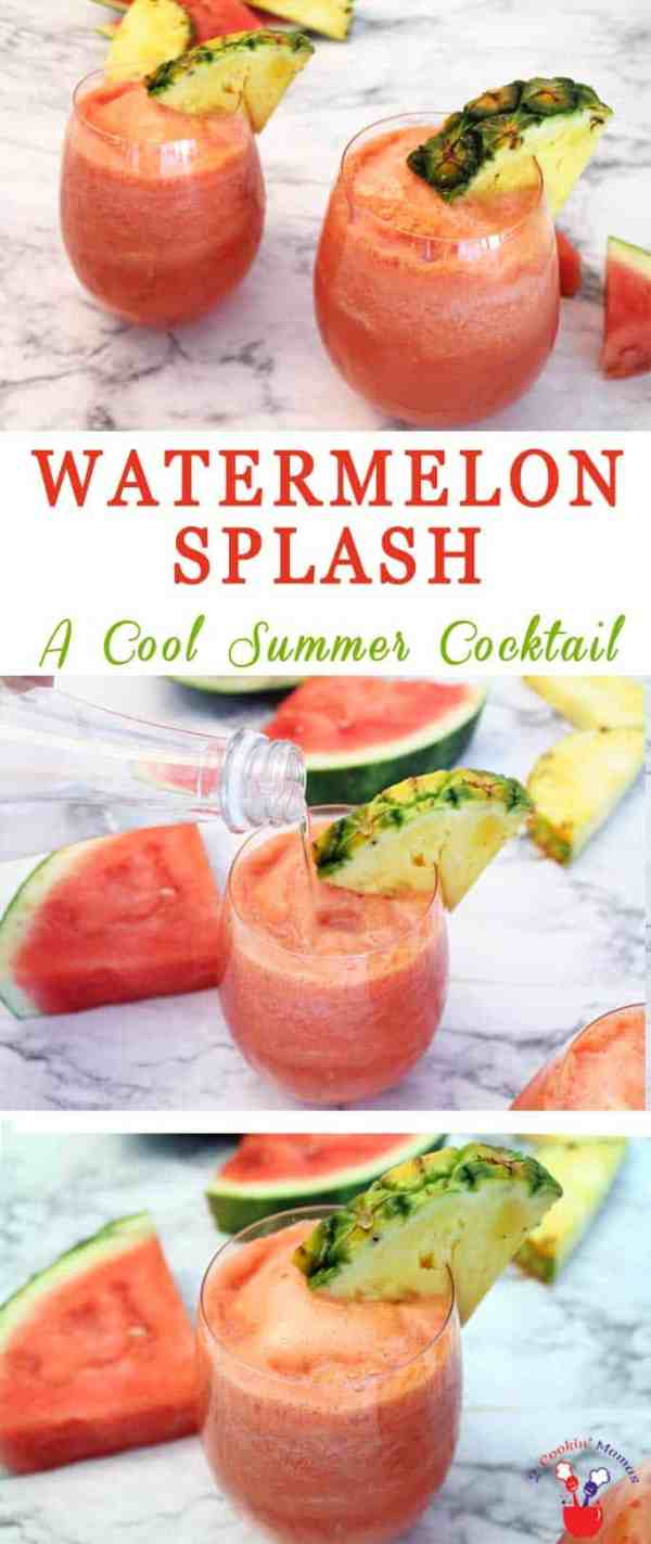 Watermelon Splash | 2 Cookin Mamas This Watermelon Splash cocktail is perfect for hot summer days. Cool, refreshing & full of tropical flavors, rum & sparkling water that will hit the spot.