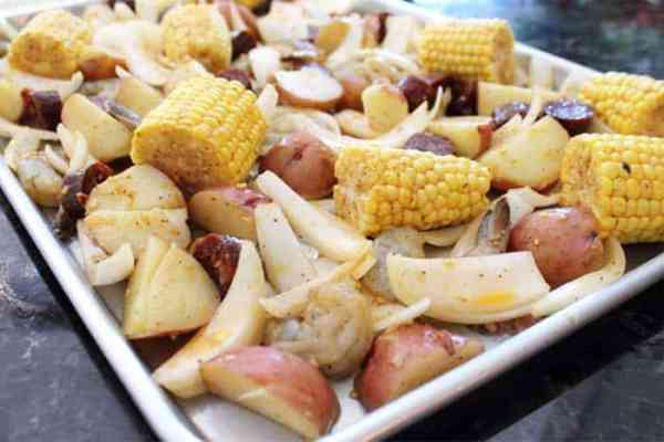 Sheet Pan Shrimp Boil Dinner closeup 1 | 2 Cookin Mamas