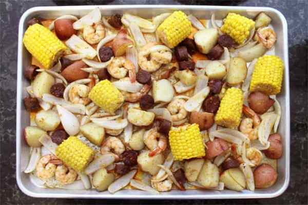 Sheet Pan Shrimp Boil Dinner overhead | 2 Cookin Mamas