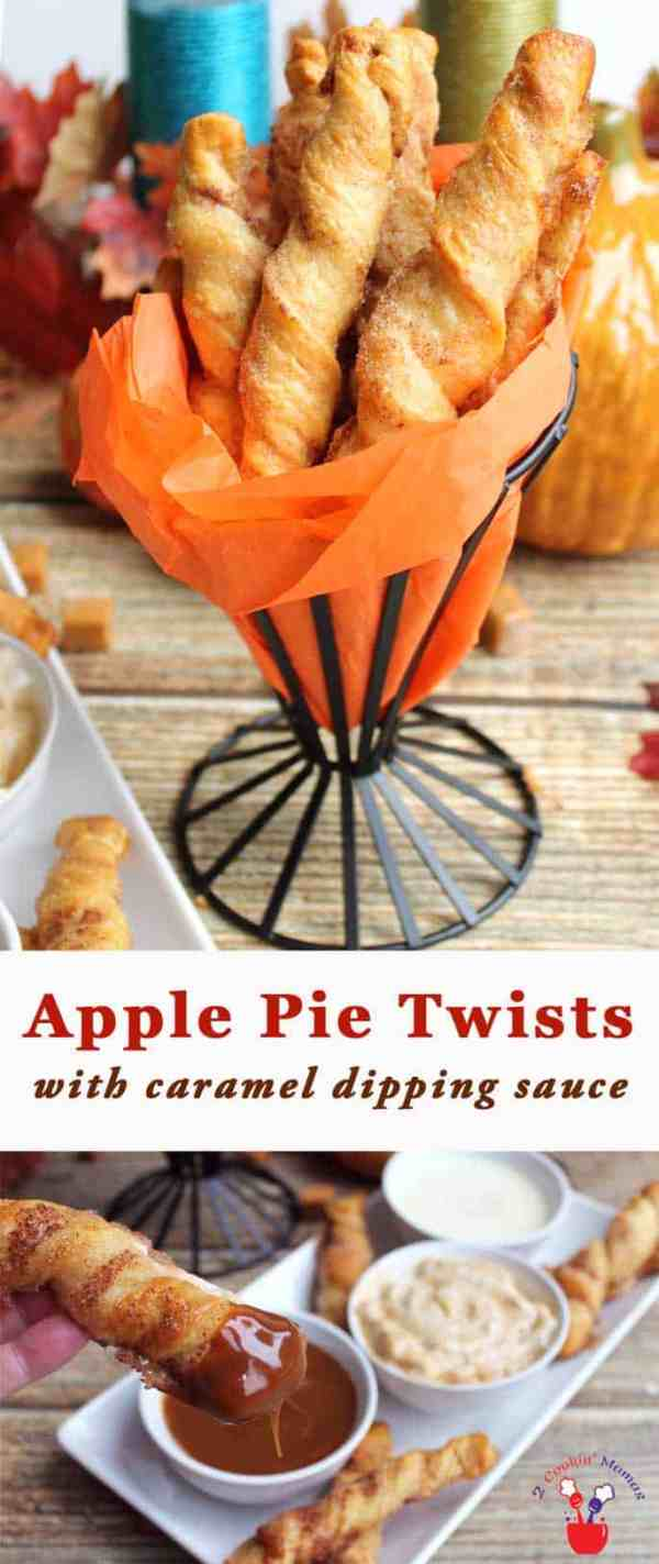 Apple Pie Twist | 2 Cookin Mamas Yummy Apple Pie Twists are easy to make & perfect for tailgating. It's like taking a bite of pie without the plate. #recipe #appetizer #tailgating