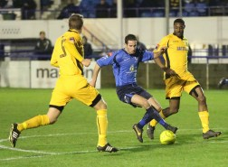 Adam Bolle - new signing surrounded by Maidstone players